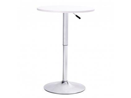 Barový stolek MOVE bílý - seřízení výšky, chrom