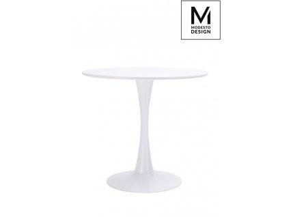 MODESTO Stůl TULIP průměr 80 bílý - MDF, kovová základna