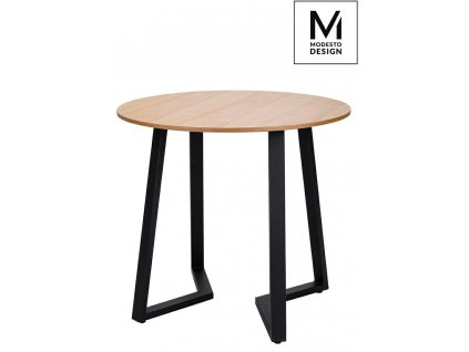 MODESTO stůl TAVOLO průměr 80 dub - deska MDF, kovová základna
