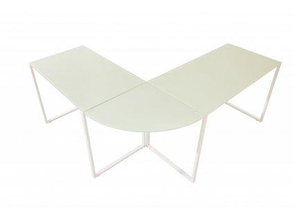 Psací rohový stůl BIG DEAL WHITE bílý - sklo, bílý kov