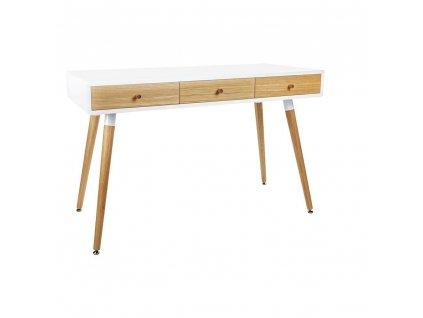 Psací stůl ARONE dub - bílý deska, dubové zásuvky a nohy