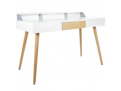 Psací stůl DOCTOR bílé - bílá deska, dubová zásuvka a nohy