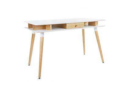 Psací stůl MODUS dub - bílá deska, dubová zásuvka a nohy