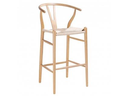 Barová židle WISHBONE natural - bukové dřevo, přírodní vlákno