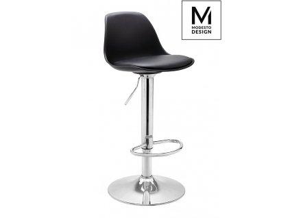 MODESTO Barová židle ALTA černá - polypropylén, koženka, chrom