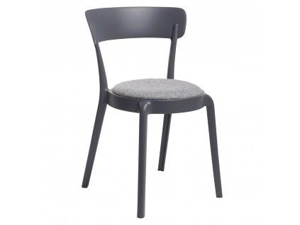 Židle FLUFFI grafitová - polštář šedá směs, polypropylén