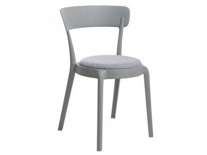Židle FLUFFI šedá moss - šedý polštář, polypropylén