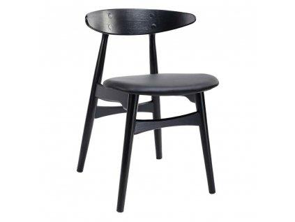 Židle RETRO černá - dřevo, koženka
