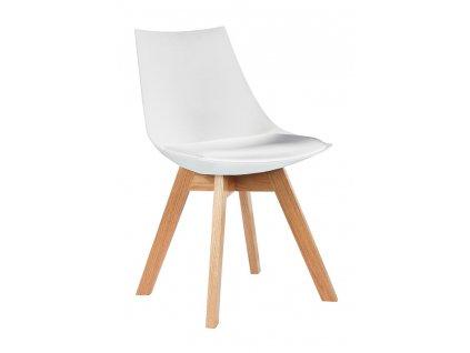 Židle SLIM bílá - polypropylén, koženka, dřevo