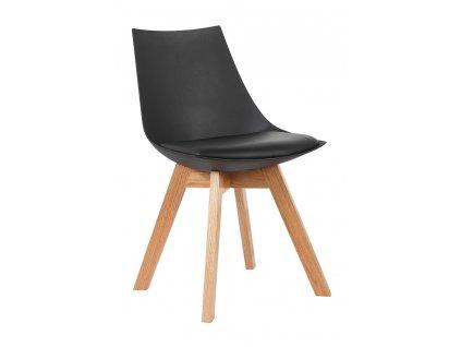 Židle SLIM černá - polypropylén, koženka, dřevo