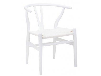 Židle WISHBONE bílá - bukové dřevo, bílé vlákno