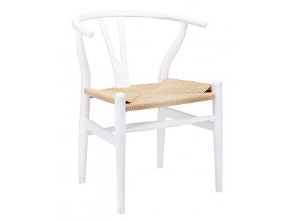 Židle WISHBONE bílá - bukové dřevo, přírodní vlákno