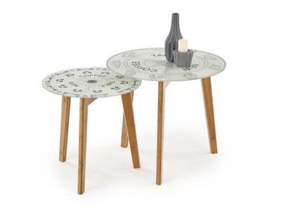BRAGA sada 2 stolky deska - vícebarevná, nohy - přírodní