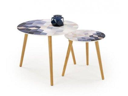 TEQUILA sada 2 stolky deska - vícebarevná, nohy - přírodní