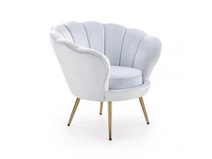 AMORINO křeslo odpočinkové světle modré, nohy - zlaté