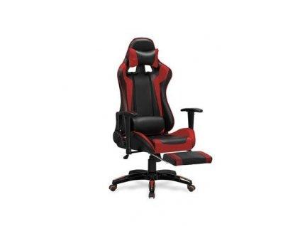 DEFENDER 2 křeslo kabinetní s podnožkou černé / červené