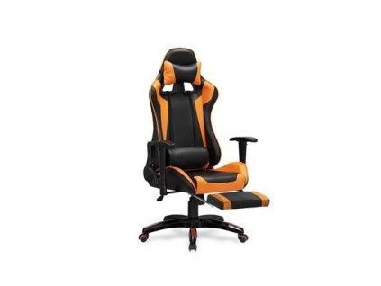 DEFENDER 2 křeslo kabinetní s podnožkou černé / oranžové
