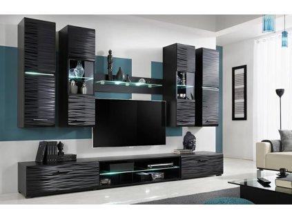 BLADE4 nábytková stěna černá / SAHARA lesk