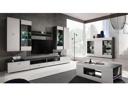 CLIF nábytková stěna antracit/bílá mat