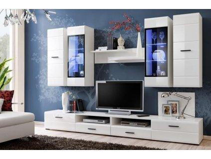 LAUREN nábytková stěna bílá/bílá MDF lesk
