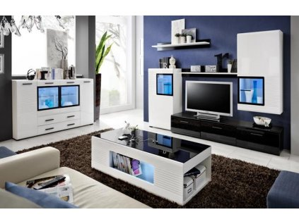 PANDA nábytková stěna černá lesk / bílá lesk