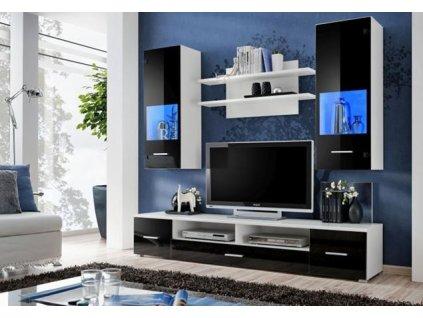 RENO nábytková stěna bílá / černá lesk