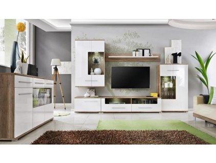 SAALA nábytková stěna k: dub MONUMENT matná/ f: bílá lesk