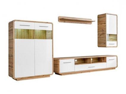 SKANSO nábytková stěna k: dub WOTAN matná/ f: bílá lesk