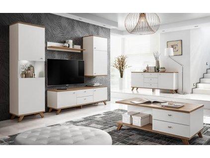 VINIE nábytková stěna k: bílá matná/ f: bílá matná/b:dub RIVIERA/z:dub RIVIERA