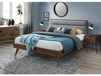 ORLANDO postel 160 cm šedá / ořech