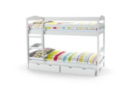 SAM - postel patrová s matracemi - bílá