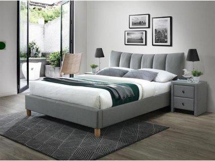 SANDY 2 postel 160 cm čalouněná šedou látkou
