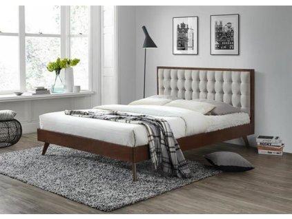 SOLOMO postel 160 cm béžová / ořech