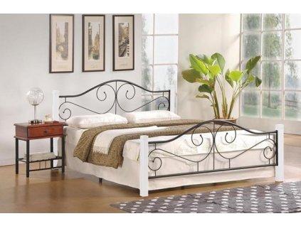 VIOLETTA 160 cm postel bílá / černá s roštem
