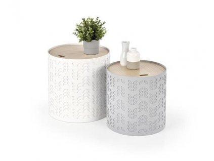 ALBA sada dvou stolků s nádobou bílá / šedá
