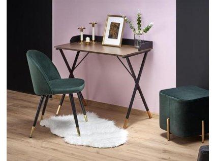B37 psací stůl černý / přírodní / zlatý