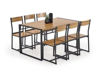 BOLIVAR sada stůl + 6 židlí zlatý dub / černý
