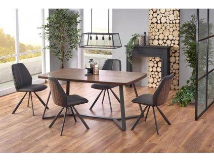 CARUZZO stůl, nohy - antracitové, deska - tmavý ořech