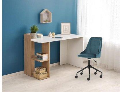 FINO psací stůl zlatý dub / bílý