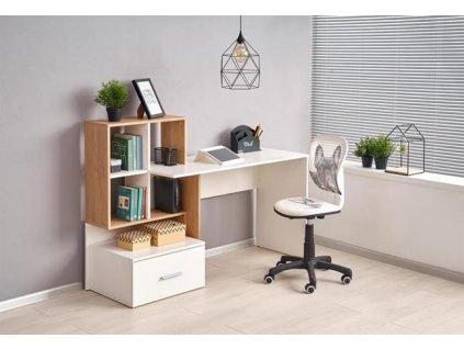 GROSSO psací stůl zlatý dub / bílý