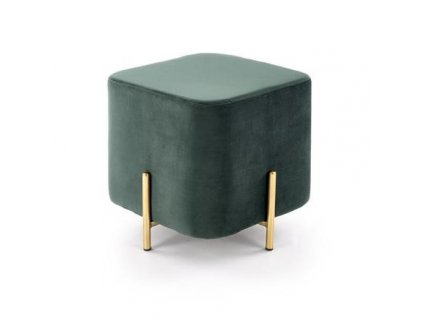 CORNO taburet tmavě zelený / zlatý