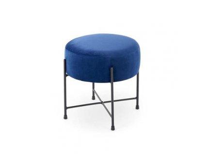 NIVA taburet kostra - černá, čalounění - tmavě modré