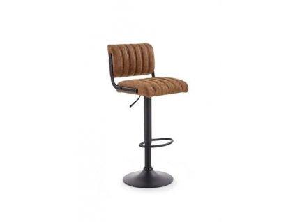 H88 barová židle kostra - černá, čalounění - hnědé