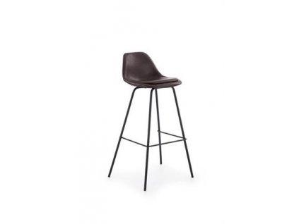 H90 barová židle kostra - černá, čalounění - tmavě hnědé