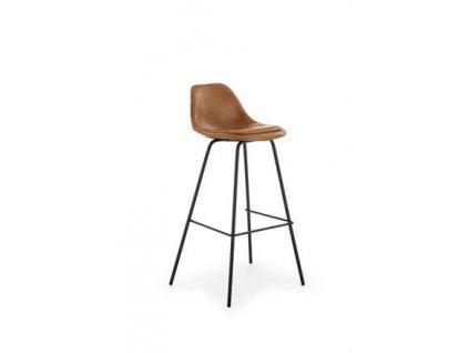 H90 barová židle kostra - černá, čalounění - světle hnědé