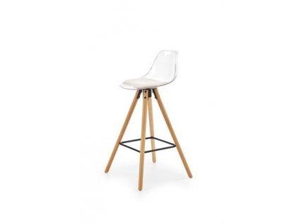 H91 barová židle transparentní / bílá, nohy - buk