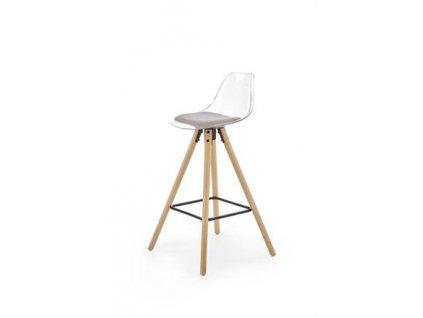H91 barová židle transparentní / světle šedá, nohy - buk