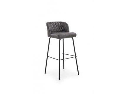 H92 barová židle kostra - černá, čalounění - tmavě šedý