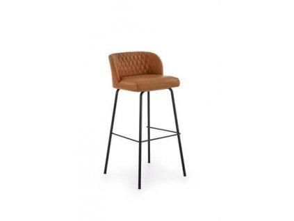 H92 barová židle kostra - černá, čalounění - světle hnědé