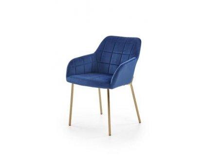 K306 židle zlatá / tmavě modrá